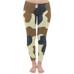 Initial Camouflage Camo Netting Brown Black Classic Winter Leggings by Mariart