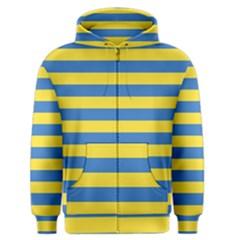Horizontal Blue Yellow Line Men s Zipper Hoodie by Mariart