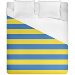 Horizontal Blue Yellow Line Duvet Cover (california King Size) by Mariart