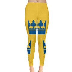 King Queen Crown Blue Yellow Leggings  by Mariart