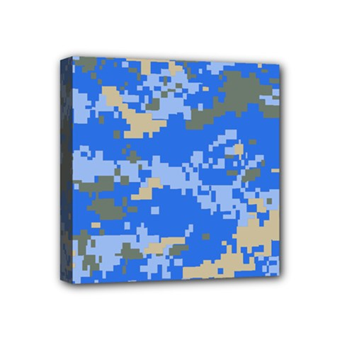Oceanic Camouflage Blue Grey Map Mini Canvas 4  X 4  by Mariart