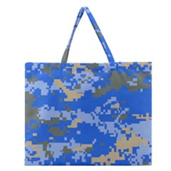 Oceanic Camouflage Blue Grey Map Zipper Large Tote Bag by Mariart