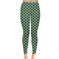Polka Dot Green Black Leggings  by Mariart