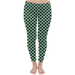 Polka Dot Green Black Classic Winter Leggings by Mariart
