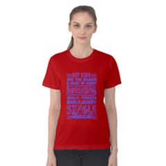 Red & Blue Kids Wake Me Up Early Every Morning Women s Cotton Tee by ThinkOutisdeTheBox