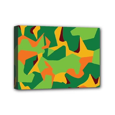 Initial Camouflage Green Orange Yellow Mini Canvas 7  X 5  by Mariart