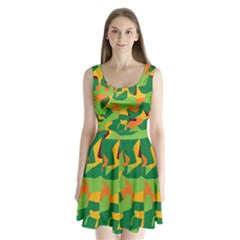 Initial Camouflage Green Orange Yellow Split Back Mini Dress  by Mariart