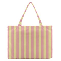 Pink Yellow Stripes Line Medium Zipper Tote Bag by Mariart