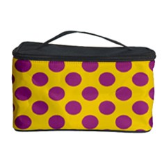 Polka Dot Purple Yellow Cosmetic Storage Case by Mariart