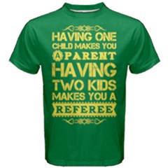 Green & Yellow One Child Parent Two Kids Referee Men s Cotton Tee by ThinkOutisdeTheBox
