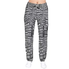 Plaid Black White Drawstring Pants by Mariart