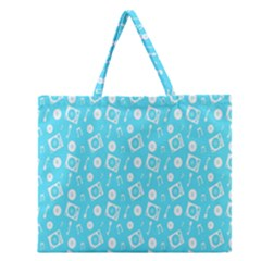 Record Blue Dj Music Note Club Zipper Large Tote Bag by Mariart
