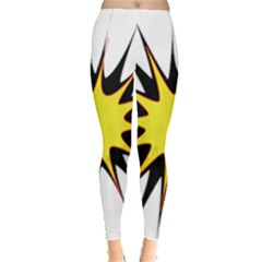 Spot Star Yellow Black White Leggings  by Mariart