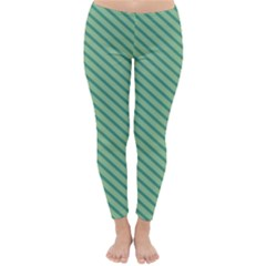 Striped Green Classic Winter Leggings by Mariart