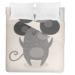 Tooth Bigstock Cute Cartoon Mouse Grey Animals Pest Duvet Cover Double Side (queen Size) by Mariart