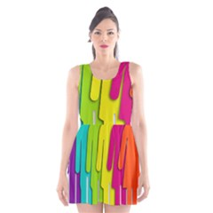 Trans Gender Purple Green Blue Yellow Red Orange Color Rainbow Sign Scoop Neck Skater Dress by Mariart