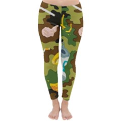 Urban Camo Green Brown Grey Pizza Strom Classic Winter Leggings by Mariart