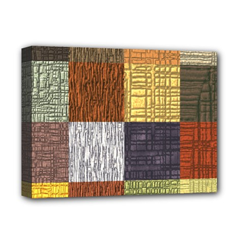 Blocky Filters Yellow Brown Purple Red Grey Color Rainbow Deluxe Canvas 16  X 12   by Mariart