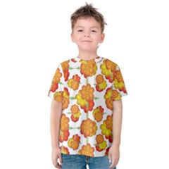 Colorful Stylized Floral Pattern Kids  Cotton Tee by dflcprintsclothing
