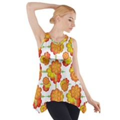 Colorful Stylized Floral Pattern Side Drop Tank Tunic by dflcprintsclothing