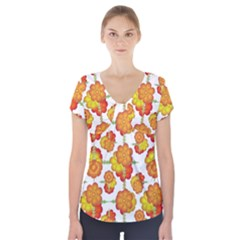 Colorful Stylized Floral Pattern Short Sleeve Front Detail Top by dflcprintsclothing