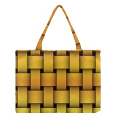 Rough Gold Weaving Pattern Medium Tote Bag by Simbadda