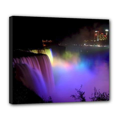 Niagara Falls Dancing Lights Colorful Lights Brighten Up The Night At Niagara Falls Deluxe Canvas 24  x 20