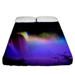 Niagara Falls Dancing Lights Colorful Lights Brighten Up The Night At Niagara Falls Fitted Sheet (king Size) by Simbadda