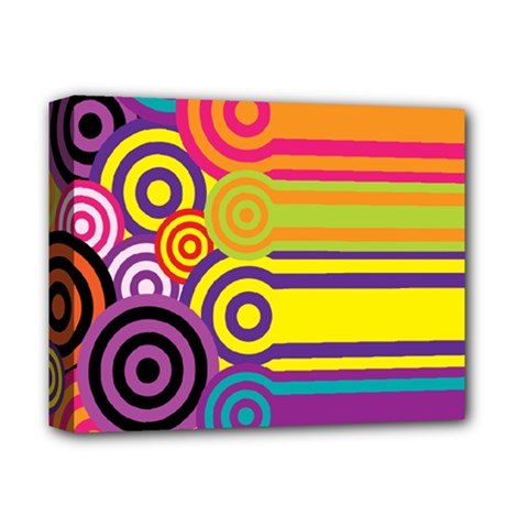 Retro Circles And Stripes Colorful 60s And 70s Style Circles And Stripes Background Deluxe Canvas 14  X 11  by Simbadda