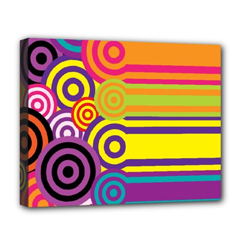 Retro Circles And Stripes Colorful 60s And 70s Style Circles And Stripes Background Deluxe Canvas 20  X 16   by Simbadda