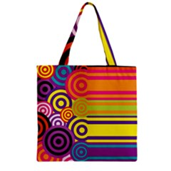 Retro Circles And Stripes Colorful 60s And 70s Style Circles And Stripes Background Zipper Grocery Tote Bag by Simbadda