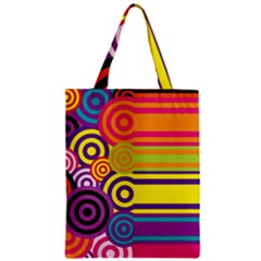 Retro Circles And Stripes Colorful 60s And 70s Style Circles And Stripes Background Zipper Classic Tote Bag by Simbadda