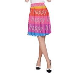 Colorful Happy Birthday Wallpaper A Line Skirt by Simbadda