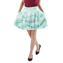 Abstract Background Teal Bubbles Abstract Background Of Waves Curves And Bubbles In Teal Green A Line Pocket Skirt