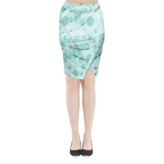 Abstract Background Teal Bubbles Abstract Background Of Waves Curves And Bubbles In Teal Green Midi Wrap Pencil Skirt
