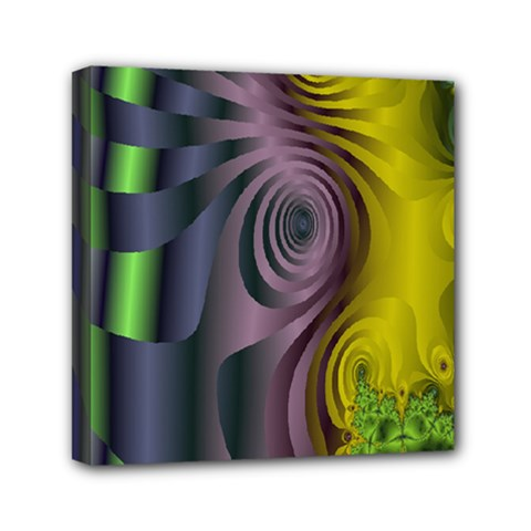 Fractal In Purple Gold And Green Mini Canvas 6  X 6  by Simbadda