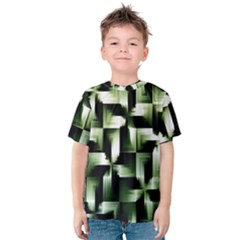 Green Black And White Abstract Background Of Squares Kids  Cotton Tee by Simbadda