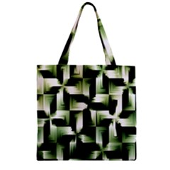 Green Black And White Abstract Background Of Squares Zipper Grocery Tote Bag by Simbadda