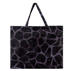 Skin1 Black Marble & Black Watercolor (r) Zipper Large Tote Bag by trendistuff