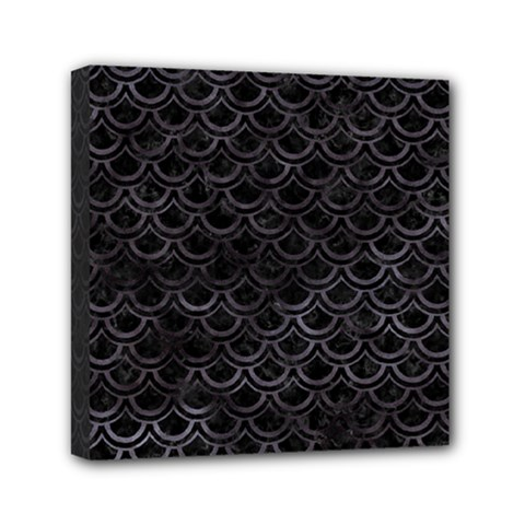 Scales2 Black Marble & Black Watercolor Mini Canvas 6  X 6  (stretched) by trendistuff