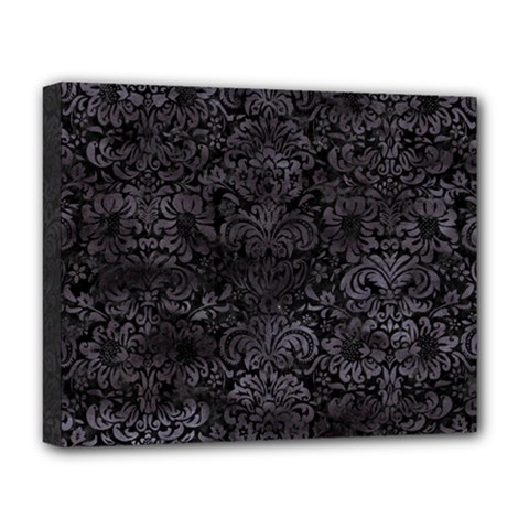 Damask2 Black Marble & Black Watercolor Deluxe Canvas 20  X 16  (stretched) by trendistuff