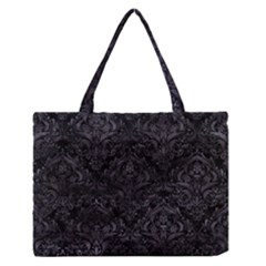 Damask1 Black Marble & Black Watercolor Medium Zipper Tote Bag by trendistuff