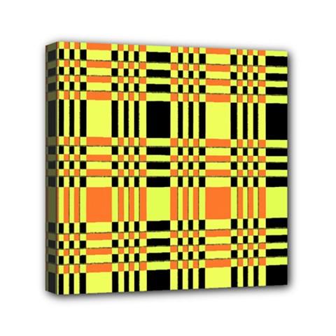 Yellow Orange And Black Background Plaid Like Background Of Halloween Colors Orange Yellow And Black Mini Canvas 6  X 6  by Simbadda