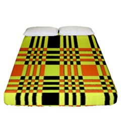 Yellow Orange And Black Background Plaid Like Background Of Halloween Colors Orange Yellow And Black Fitted Sheet (queen Size) by Simbadda