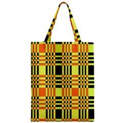 Yellow Orange And Black Background Plaid Like Background Of Halloween Colors Orange Yellow And Black Zipper Classic Tote Bag by Simbadda