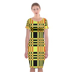 Yellow Orange And Black Background Plaid Like Background Of Halloween Colors Orange Yellow And Black Classic Short Sleeve Midi Dress by Simbadda