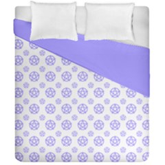 White And Lilac Pentacle Pagan Wiccan Duvet Cover Double Side (california King Size) by cheekywitch