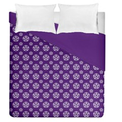 Deep Purple White Pentacle Pagan Wiccan Duvet Cover Double Side (queen Size) by cheekywitch