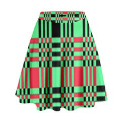 Bright Christmas Abstract Background Christmas Colors Of Red Green And Black Make Up This Abstract High Waist Skirt by Simbadda