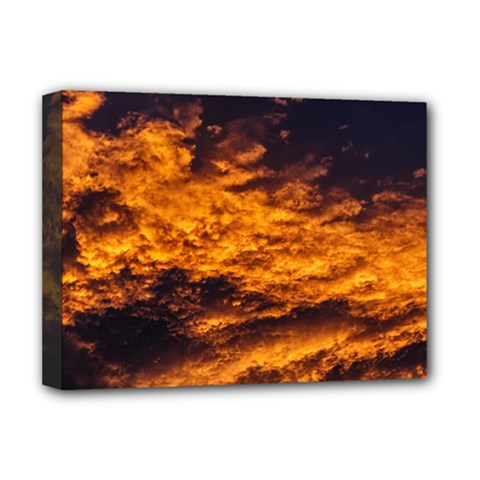 Abstract Orange Black Sunset Clouds Deluxe Canvas 16  X 12   by Simbadda
